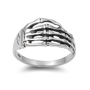 Skull Skeleton Hand Ring 925 Sterling Silver